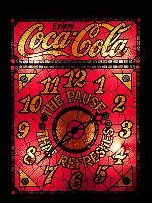 Coca-Cola The Pause That Refreshes Backlit Stained Glass Look Electric Clock