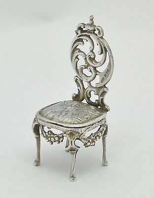 Beautiful Novelty Solid Silver Miniature Chair Hm1978 - Art Nouveau - Great Gift
