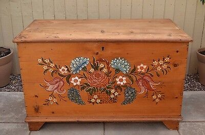Gorgeous Antique Stripped Pine Blanket Box Painted Chest Trunk Coffee Table