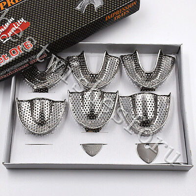 Dental Autoclavable Metal Impression Trays Perforated Stainless Steel S M L 6 Pc