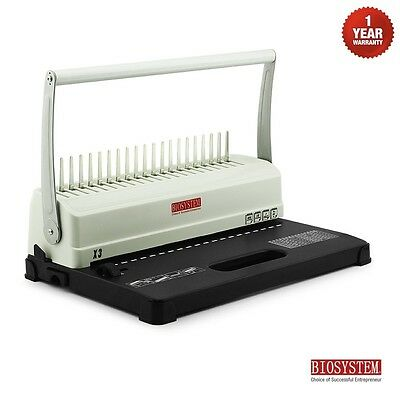 BIOSYSTEM Office Home Comb Binding Machine Plastic Coil Binder X3 Hole Punch New