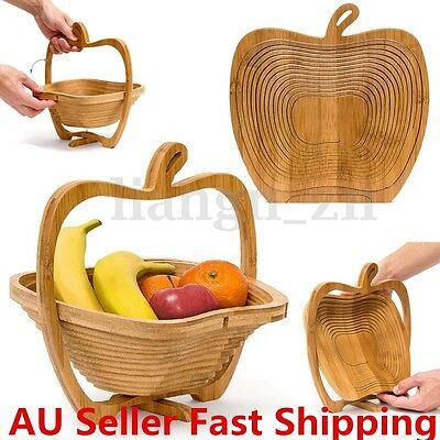 Collapsible Apple Shaped Bamboo Basket Kitchen Fruit Storage Centerpiece Decor