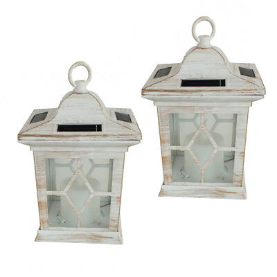 2 Pack Solar Powered Flickering Flame Led Candle Lanterns Outdoor Garden Light