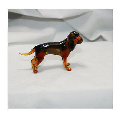 Art Blown Glass Murano Figurine Glass  Dog Bloodhound