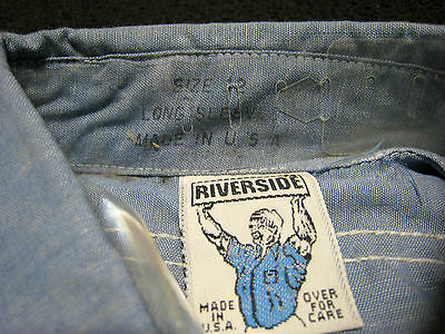 "VINTAGE 70s ""RIVERSIDE"" BLUE CHAMBRAY UTILITY WORK SHIRT. USA. NWOT. NOS. 12"
