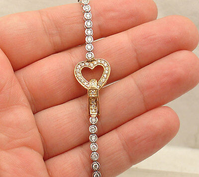 2.65TCW  Bezel Set Genuine Diamond Heart Tennis Bracelet Real 14K White Gold