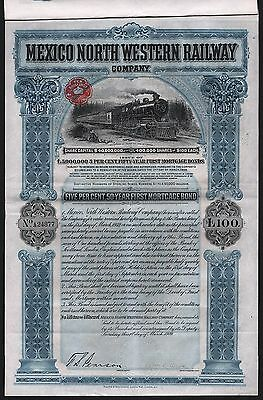 1909 Mexico North Western Railway Company - £100 Bond, uncancelled & coupons