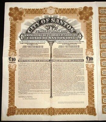 1915 Brazil: City of Santos / Cidade de Santos - £10 Funding Loan