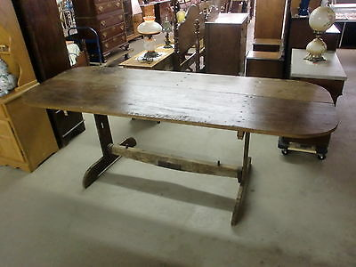 Antique Primitive 2 Board Top Long Farm Harvest Trestle Farm Table OLD!
