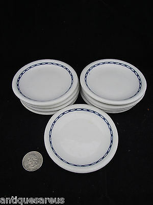 Nine Matching  Antique Blue And White  3 1/2'' Butter Pats
