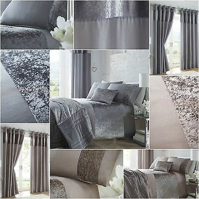 Luxury Crushed Velvet Panel Duvet Cover Bedding Set Curtains Cushion Throw New