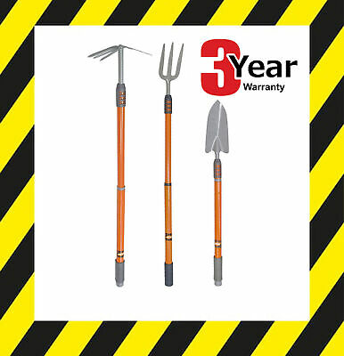 Set Of 3 Telescopic Handle Garden Hand Tools Fork Trowel Fork/hoe 3 Yr Warranty