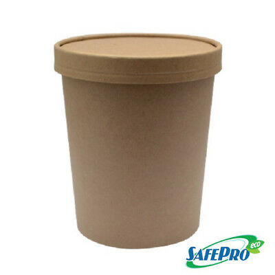 SafePro Eco SB53 32 Oz. Double Wall Kraft Paper Soup Cup with Vented Paper Lid C