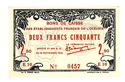French Oceania ... P-13c  ... 2.50 Francs ... 1943  ... CH*UNC*