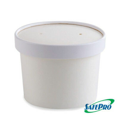 SafePro SP99 8 Oz. White Paper Soup Containers Combo with Vented Lids, 250-Piece