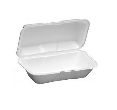 Dart 99HT1, 10x5x3-Inch Performer White Hoagie Foam Container with a Removable H