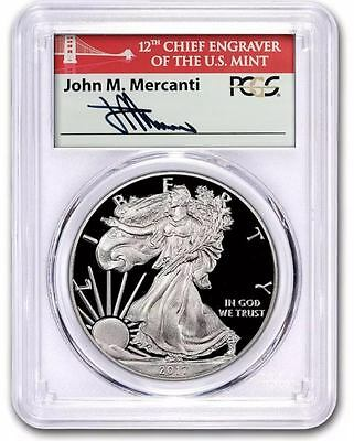 2017-S Proof $1 American Silver Eagle PCGS PR69DCAM First Strike Mercanti Signed