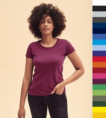 5er Pack Damen T-Shirt Fruit of the Loom XS-2XL Lady-Fit Original Tee 61-420-0