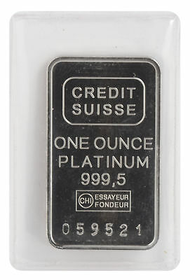 1oz Platinum Credit Suisse Bar .9995 Fine w/Assay Certificate