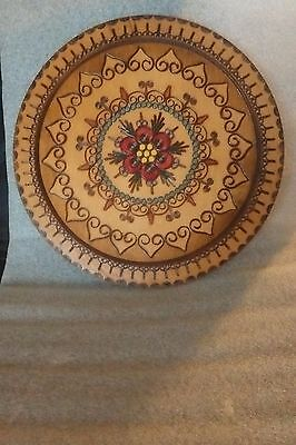 Vintage Talerz Poland Decorative Hand Carved Inlay & Painted Wood Plate / Tray