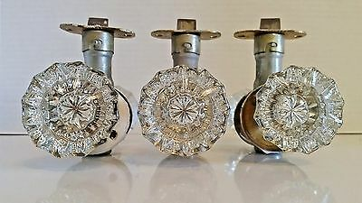 Vintage Antique Crystal Glass Brass Door Knobs Lot of 3 SETS w/ Latches 6 KNOBS