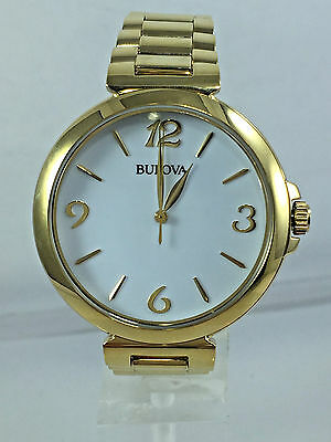 Women's Bulova 97L139 Gold Tone Stainless Steel Bracelet White Dial Watch