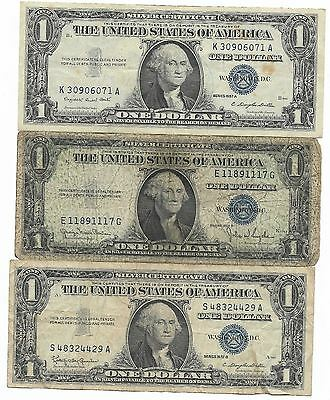 100% Old Rare 1935-57 US Blue Seal Silver Certificate Dollar Bill Collection Lot