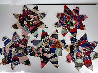 Antique Quilt Blocks 8 Point Star Early 1900's Fabric Lot of 5