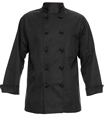 350 Chef Apparel 10 Knot Button Chef Coat-Easy-Care Twill - Black, XL