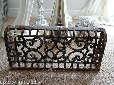 GOTHIC salvaged VICTORIAN cast iron grate ARCHITECTURAL curved heat register