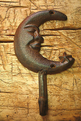 1 Cast Iron CRESCENT MOON Hat HOOK Coat Hooks Rack Towel STAR Key Holder