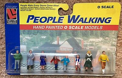 People Walking - 8 Hand Painted O Scale Figures From Life-Like Products - MOC
