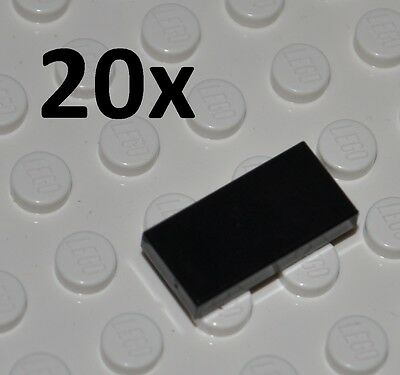 Lego Parts - 20X Black Tiles 1X2 Studs/flat Building Pieces/smooth Panels/3069