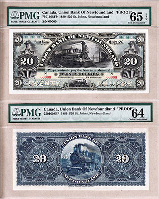 1889 $20 Union Bank of Newfoundland Color Front & Back Proofs. PMG GEM UNC65 EPQ