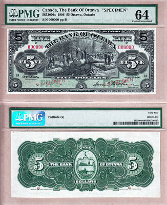Beautiful Rare Note: 1906 $5 The Bank of Ottawa Specimen. PMG Choice UNC64