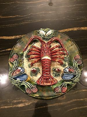 Vintage Palissy Style Majolica Langoustine And Mussel Plate
