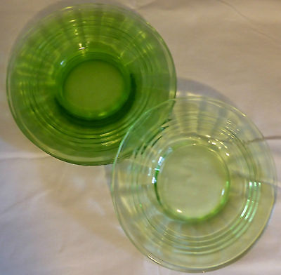 Lot of Four 1930s Vintage Anchor Hocking Green Depression Glass Plates