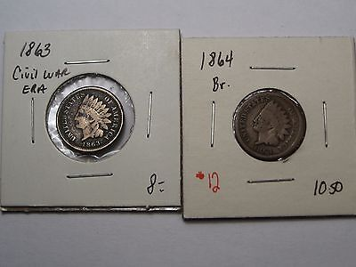 Civil War era US  INDIAN HEAD Pennies. 1863 c/n, 1864 Bronze.