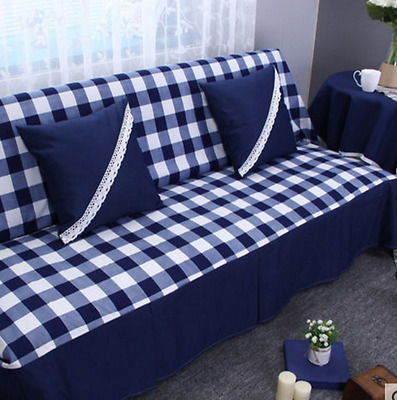 Dark Blue Check Cotton Linen Slipcovers Sofa Cover Protect LAUL1 2 3 4 seater