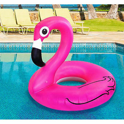 Pink Inflatable Giant Flamingo Shaped Pool Float Ring Raft Swimming Water Fun UK