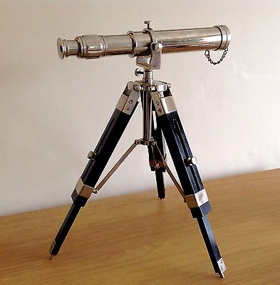 Chrome Telescope On Stand - Nautical Brass Telescope With Tripod