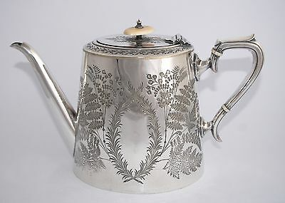 C19th Thomas Otley (Sheffield) Hand Chased Silver Plate Tea Pot - WOW! 1.850L