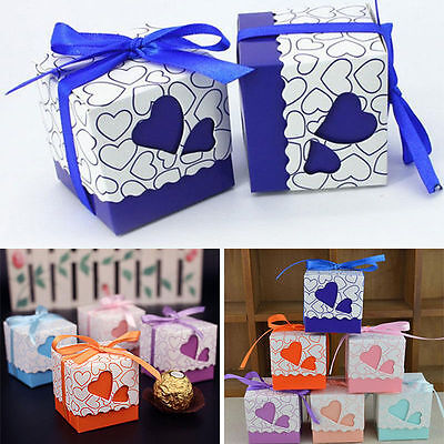 50/100pcs Wedding Love Heart Candy Boxes Vintage Ribbon Gift Favor Decor