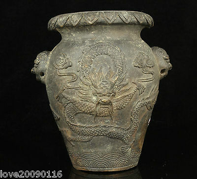 Collectible Decorated China Old Handwork Bronze Carved Dragon  Brush Pots / jar