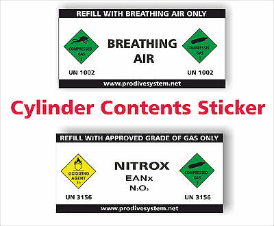 Cylinder Contents Sticker Compressed Gas Stickers Nitrox Breathing Air Vinyl