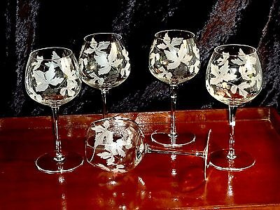 "Fabulous Vintage Hand Etched 'grape & Vine"" Crystal Tall Hock Glasses"