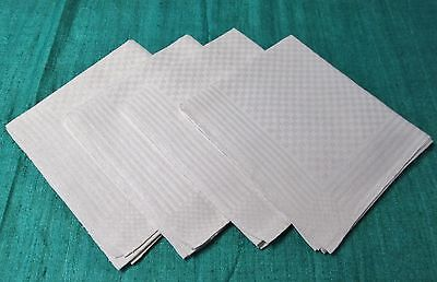 Antique 4 Linen Damask Shaving Towels Handsome Geometric Pattern Checks Stripes