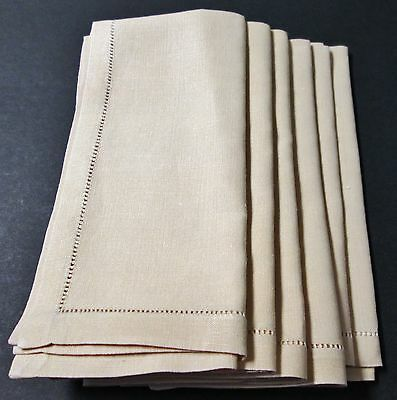 Antique 6 Pale Gold Linen Napkins Hemstitched Cool Silky Fabric Classy!