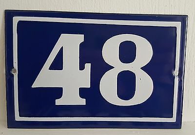 ANTIQUE FRENCH ENAMEL HOUSE NUMBER SIGN Door gate plaque street plate 48
