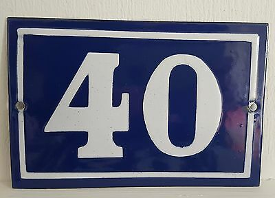 ANTIQUE FRENCH ENAMEL HOUSE NUMBER SIGN Door gate plaque street plate 40